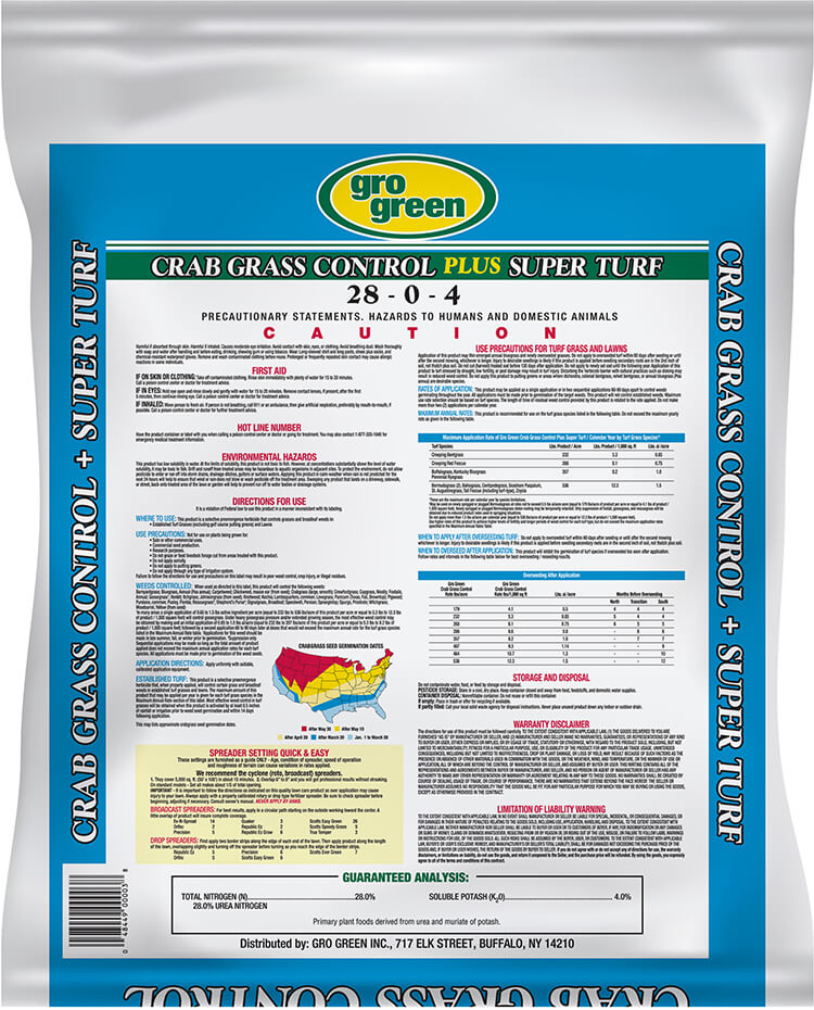 Gro Green Crabgrass Control Plus Super Turf - 14 lbs - Back