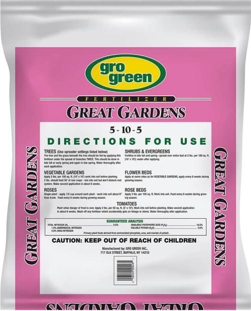 Gro Green Great Gardens 5-10-5 Fertilizer - 20 lbs - Back
