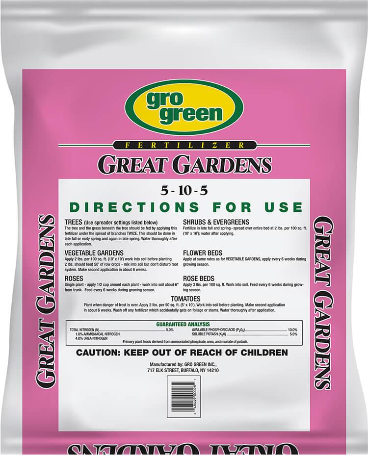 Gro Green Great Gardens 5-10-5 Fertilizer - 20 lbs - Back