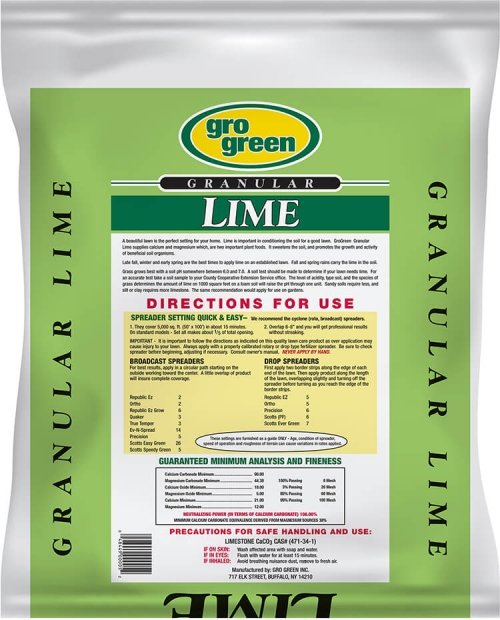Gro Green Lime - 20 lbs - Back