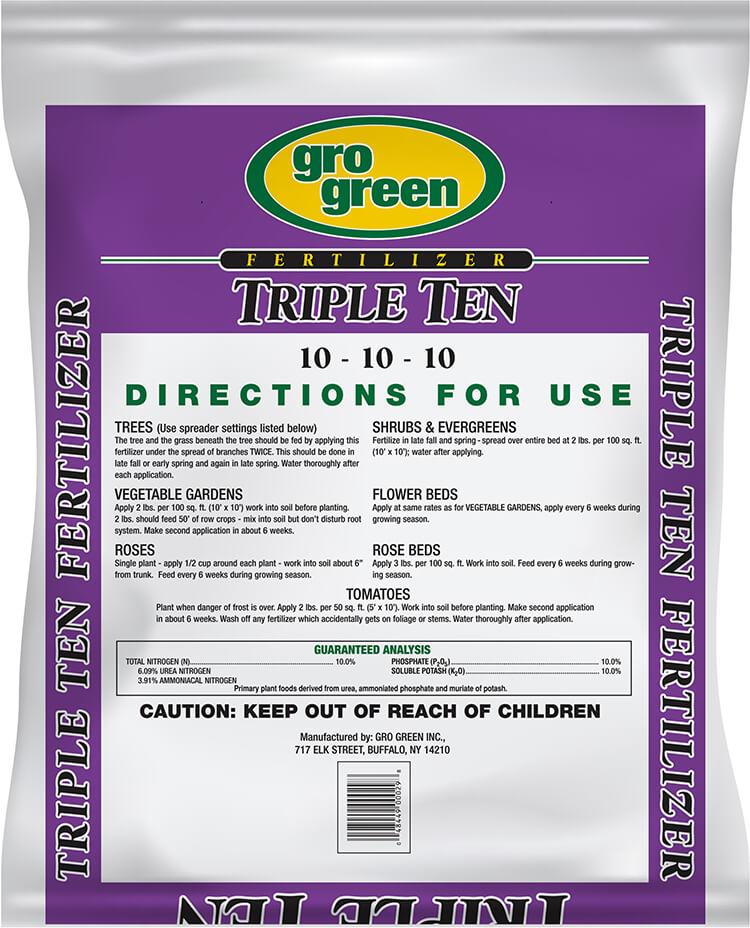 Gro Green Triple Ten 10-10-10 Fertilizer - 20 lbs - Back