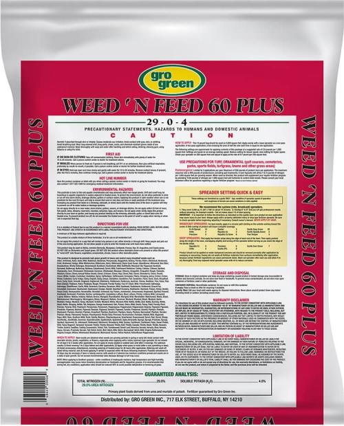 Gro Green Weed 'N Feed 60 Plus - 15 lbs - Back