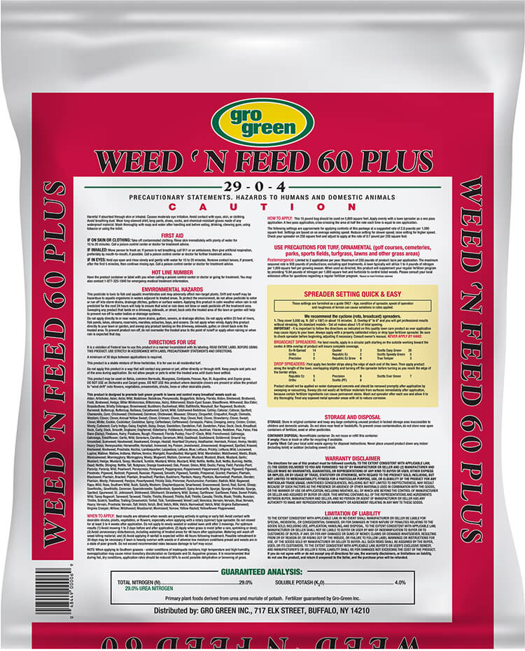 Gro Green Weed 'N Feed 60 Plus - 15 lbs - Back