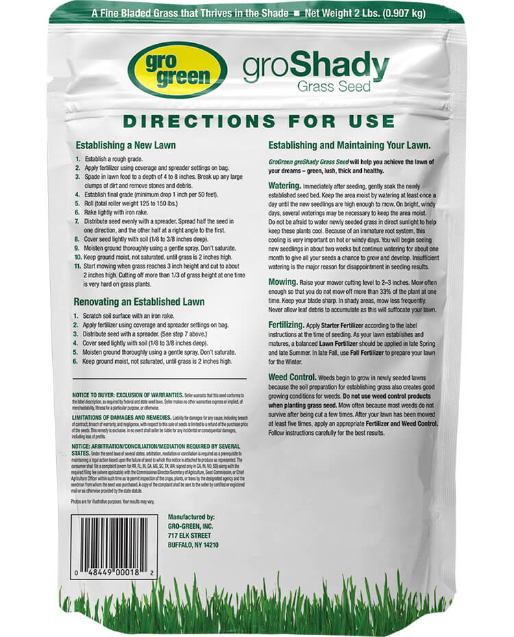 Gro Green groShady Grass Seed - 2 lbs - Back