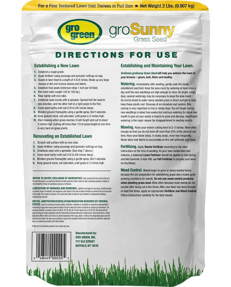 Gro Green groSunny Grass Seed - 2 lbs - Back