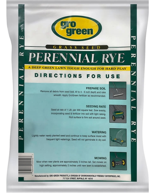 Gro Green Perennial Rye Grass Seed - 10 lbs - Back