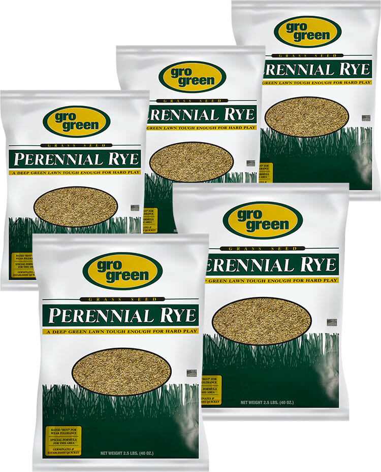 Gro Green Perennial Rye Grass Seed - 2.5 lb. Bags - Pack of 5
